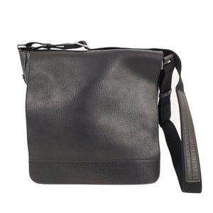 SHINOLA North/South Black Leather Messenger Bag